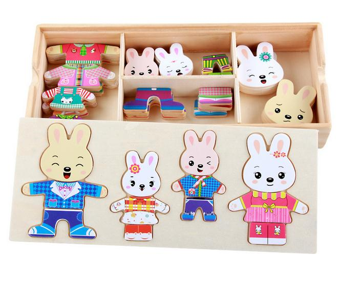 Baby Kids Wooden Toys Dress Up Dressing Jigsaw Puzzle family Changing Clothes Educational Board Game Toys for Children girl Gift