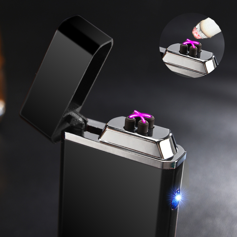 New Usb Electric Double Arc Lighter Rechargeable Windproof Torch Cigarette Dual Thunder Pulse Cross Plasma