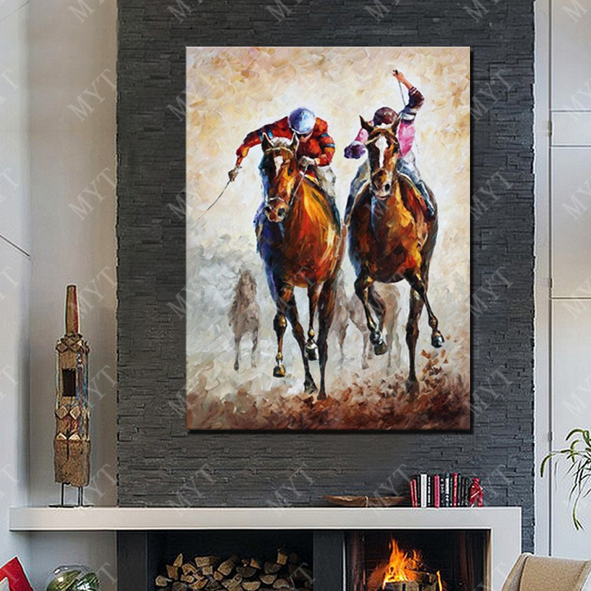 Modern horse racing decorative wall painting handmade good quality acrylic paints for painting wall art decor