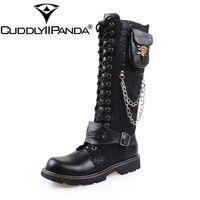 CUDDLYIIPANDA High Quality PU Leather Men Boots High Top Fashion Punk Martin Shoes Men Botas Metal