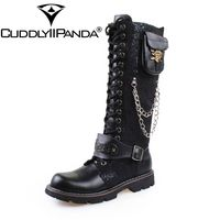 CUDDLYIIPANDA High Quality PU Leather Men Boots High Top Fashion Punk Martin Shoes Men Botas Metal