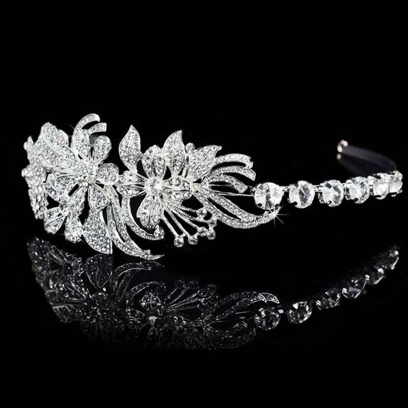 New Arrival Magnificent Clear Rhinestone Leaf Bridal Tiaras Wedding Crown Crystal Hair Jewelry Accessories Bridal Crown T021