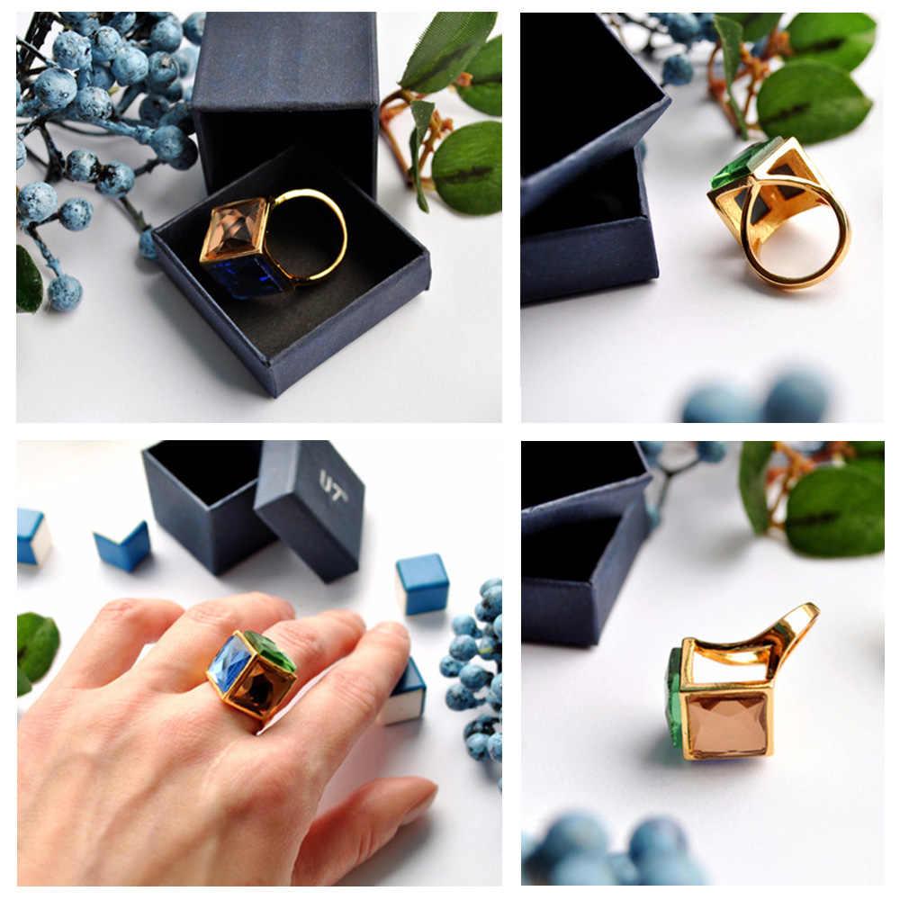 U7 Позолоченное Циркон Кольцо Ювелирные Изделия Перстень С Большими Камниями Для Женщин R352