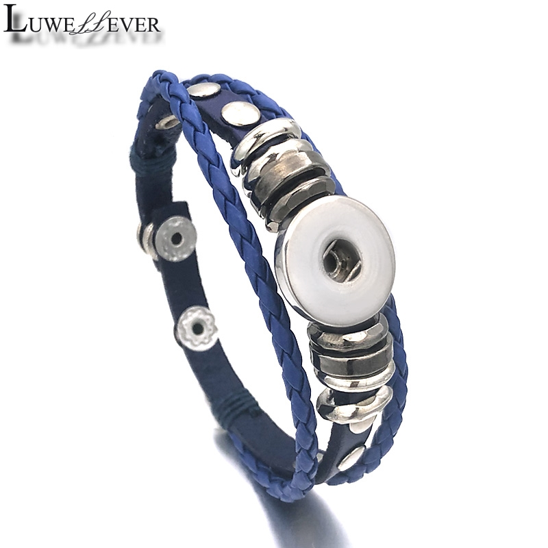 Hot Interchangeable 173 Real Genuine Leather Retro Fashion Bracelet 12mm 18mm Snap Button Bangle Charm Jewelry For Women Gift image