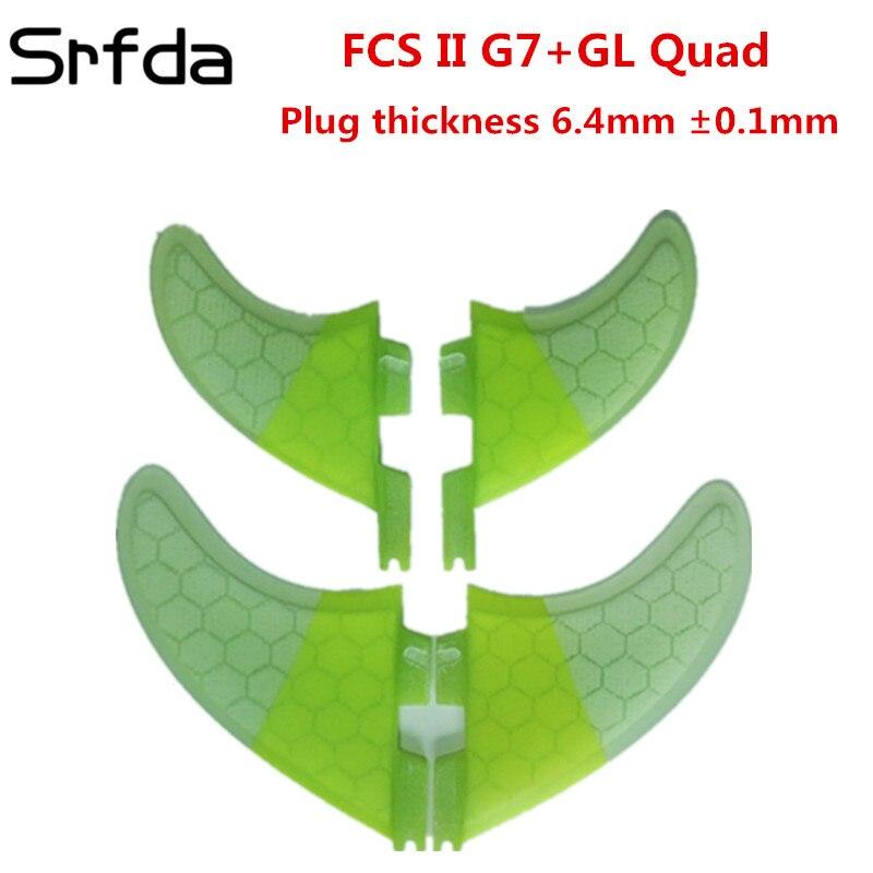 Srfda quad set de Haute qualité planche de surf pour AVENIR FCS II boîte ailettes avec fiber de verre de miel peigne matériel taille 2pcsG7 + 2 pcs GL