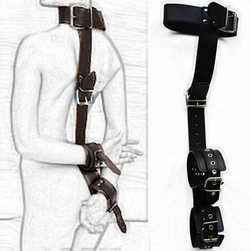 Adult fetish product Leather Neck collar to Hand restraint Sex Game Toys wrist cuffs Slave harness bondage for women men Couples tri fidget hand spinner triangle metal finger focus toy adhd autism kids adult toys finger spinner toys gags