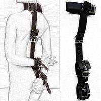 Colar Cervical para retenção de Mão de Couro do produto Do Sexo adulto fetiche Brinquedos jogo de pulso punhos Slave harness bondage para as mulheres homens casais