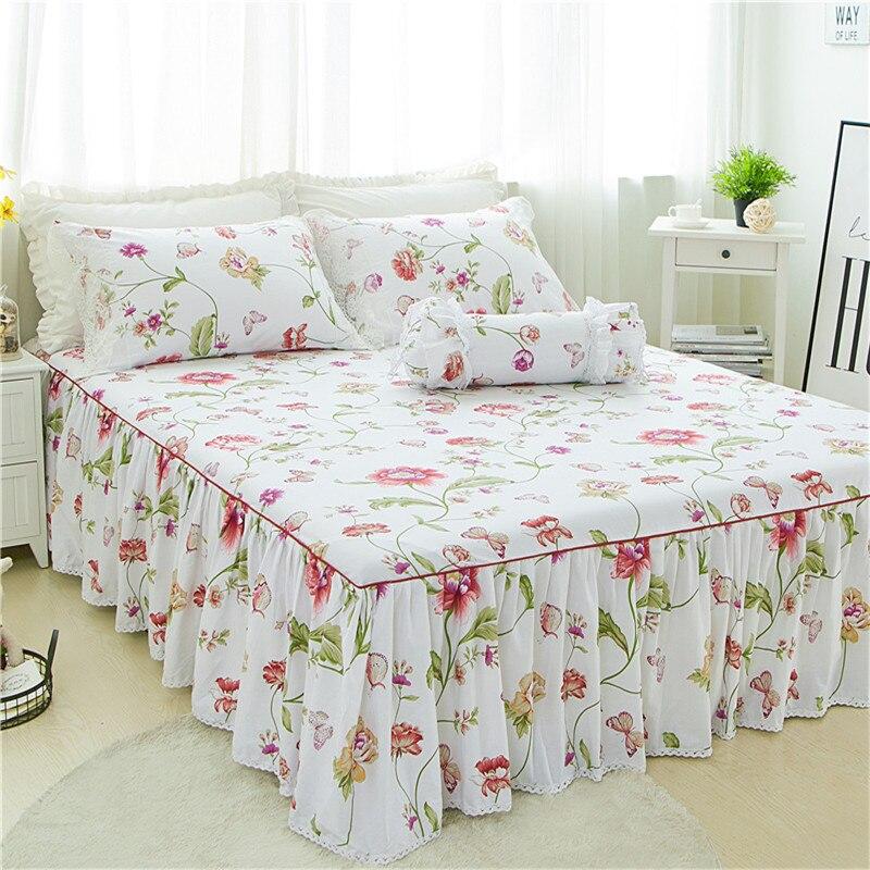 3 pcs De Luxe blanc fleur Lit jupe taie d'oreiller lit ensemble roi princesse matelas couverture double pleine grandeur queen literie maison textile