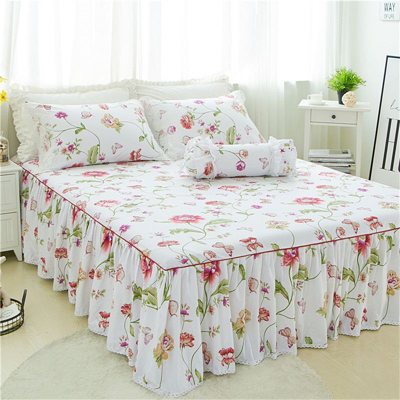 3pcs Luxury white flower Bed skirt pillowcase bed set king princess mattress cover twin full queen size bedding home textile3pcs Luxury white flower Bed skirt pillowcase bed set king princess mattress cover twin full queen size bedding home textile