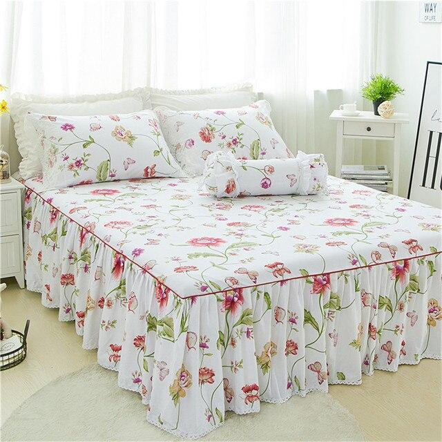 3pcs Luxury White Flower Bed Skirt Pillowcase Set King Princess Mattress Cover Twin Full Queen