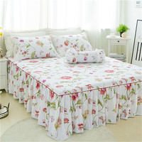 3pcs Luxury white flower Bed skirt pillowcase bed set king princess mattress cover twin full queen size bedding home textile