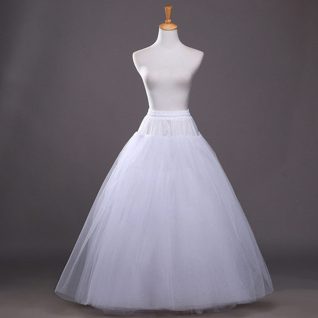 Hot Sale! 2015 Cheapest A-Line White Wedding Petticoats Free Size Bridal Slip Underskirt Crinoline White For Wedding Dresses