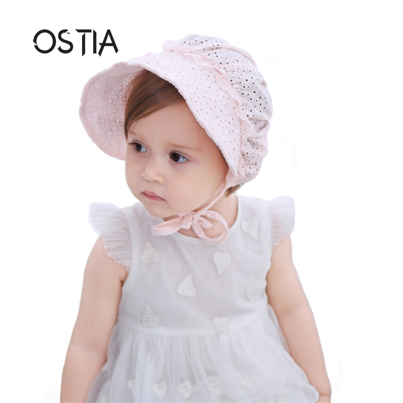 Ostia 2018 Baby Girls Hat Lace Flower Baby Hat Princess Baby Caps Girls Hats Newborn Photography Props Candy Color Beanies B21