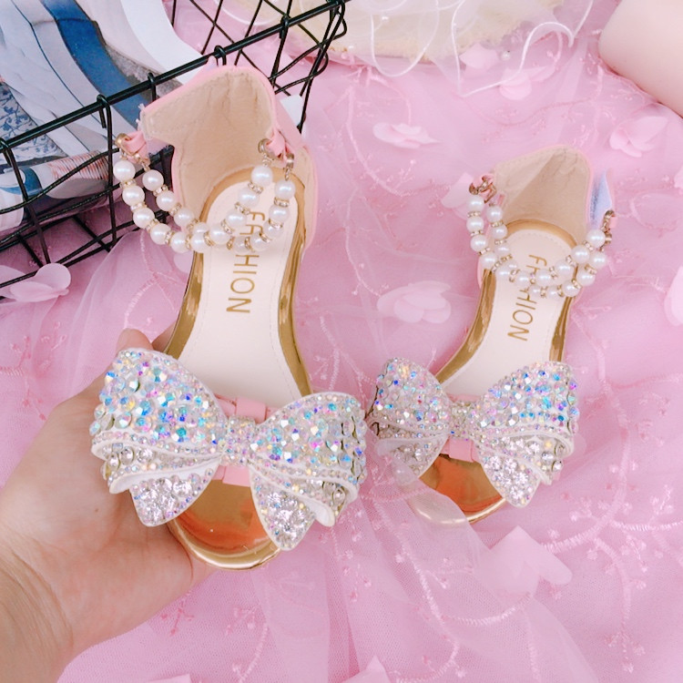 Sequins Glitter Girls Sandals Summer New Children's Princess Shoes Latin Dance Shoes Beading Kids Summer Sandals