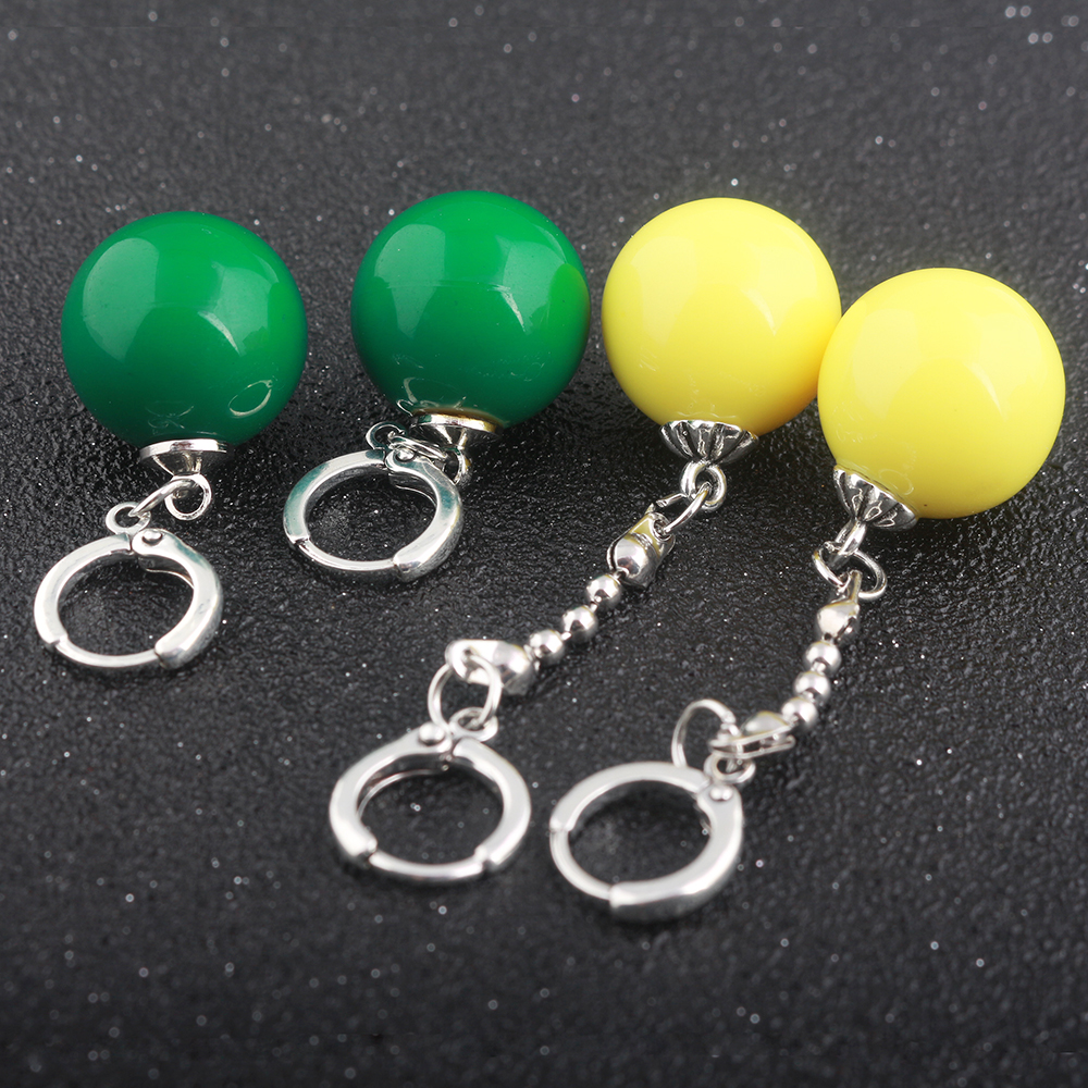 RJ Anime Dragon Ball Z Potara Earrings Yellow And Green Round Eardrop Earrings Cosplay Jewelry For Women Girls Lovely Gift