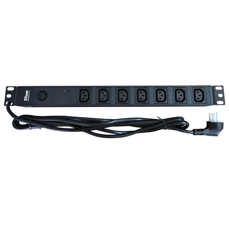TOWE PDU SPD EN10/I709PS 10A 7 WAYS IEC320 C13 Overload Protect  Cabinet Socket  Power Distribution Unit Surge Protector 19in