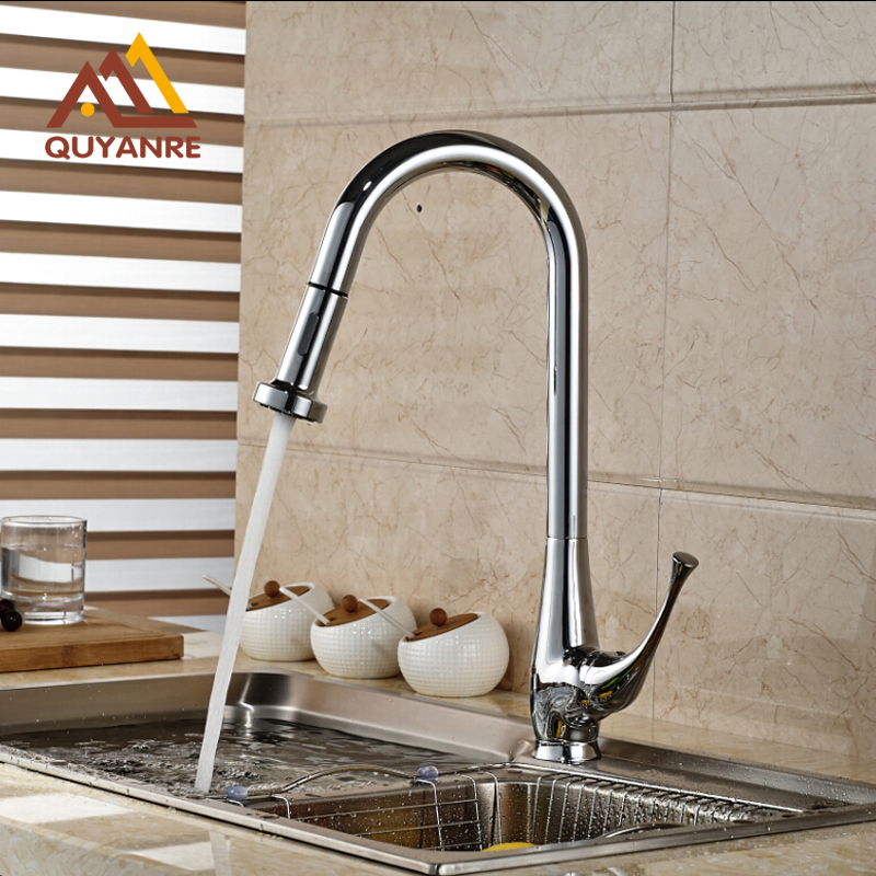 Pull Out Chrome Polish Kitchen Mixer Tap Single Handle One Hole 360 Degree Rotation Faucet