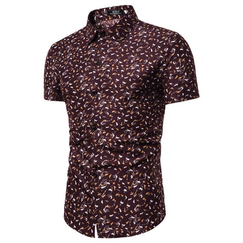 VISADA JAUNA 201 9The 新メンズ半袖花柄スリムシャツ大サイズシャツ男性サイズ M-3XL TLH71