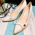 2016 White leather bow pointed pumps women genuine leather shoes bridal heels wedding shoes sweet female pumps