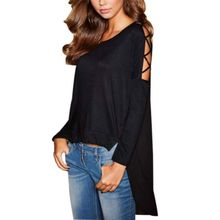 2016 New Fashion Women's Loose Chiffon Tops Long Sleeve Shirt Casual Hollow Out Blouse Clothes