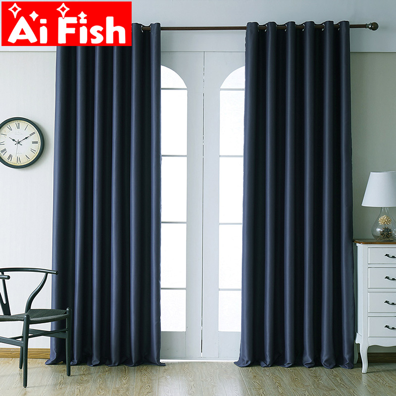 Modern Blackout Curtains For Living Room Window Treatment Kitchen Drapes Solid Finished Blackout Curtains For Bedroom MY152#40