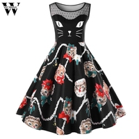 Womail Womens Dresses Evening Party Cat Printing Sleeveless Party Dress Ladies Vintage Swing Lace Dress Autumn