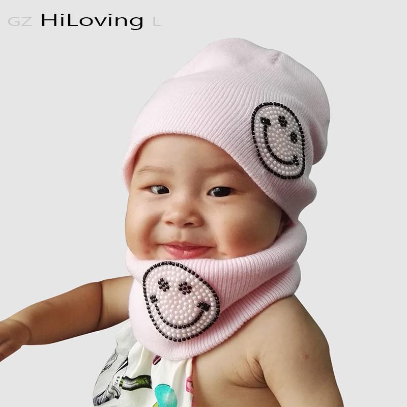 2016 Fashion 2pcs Kids Hat Scarf Set Kawaii Beanie Cotton Children Winter Hats Little Boys Girls Kids Smile Hats Scarf Sets