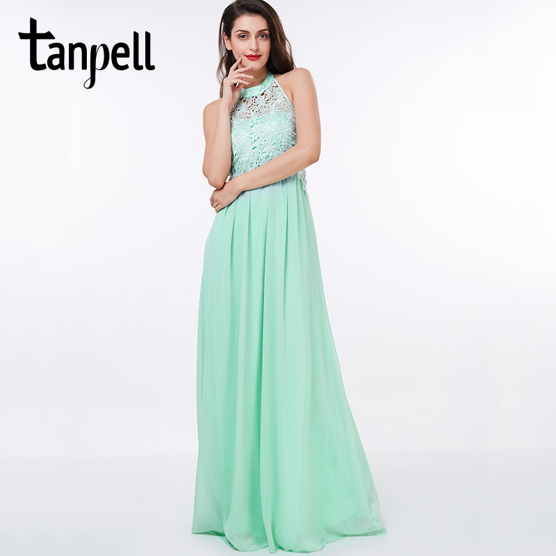Tanpell halter   prom     dress   cheap green sleeveless lace floor length a line   dress   back zipper up chiffon formal evening   prom   gown