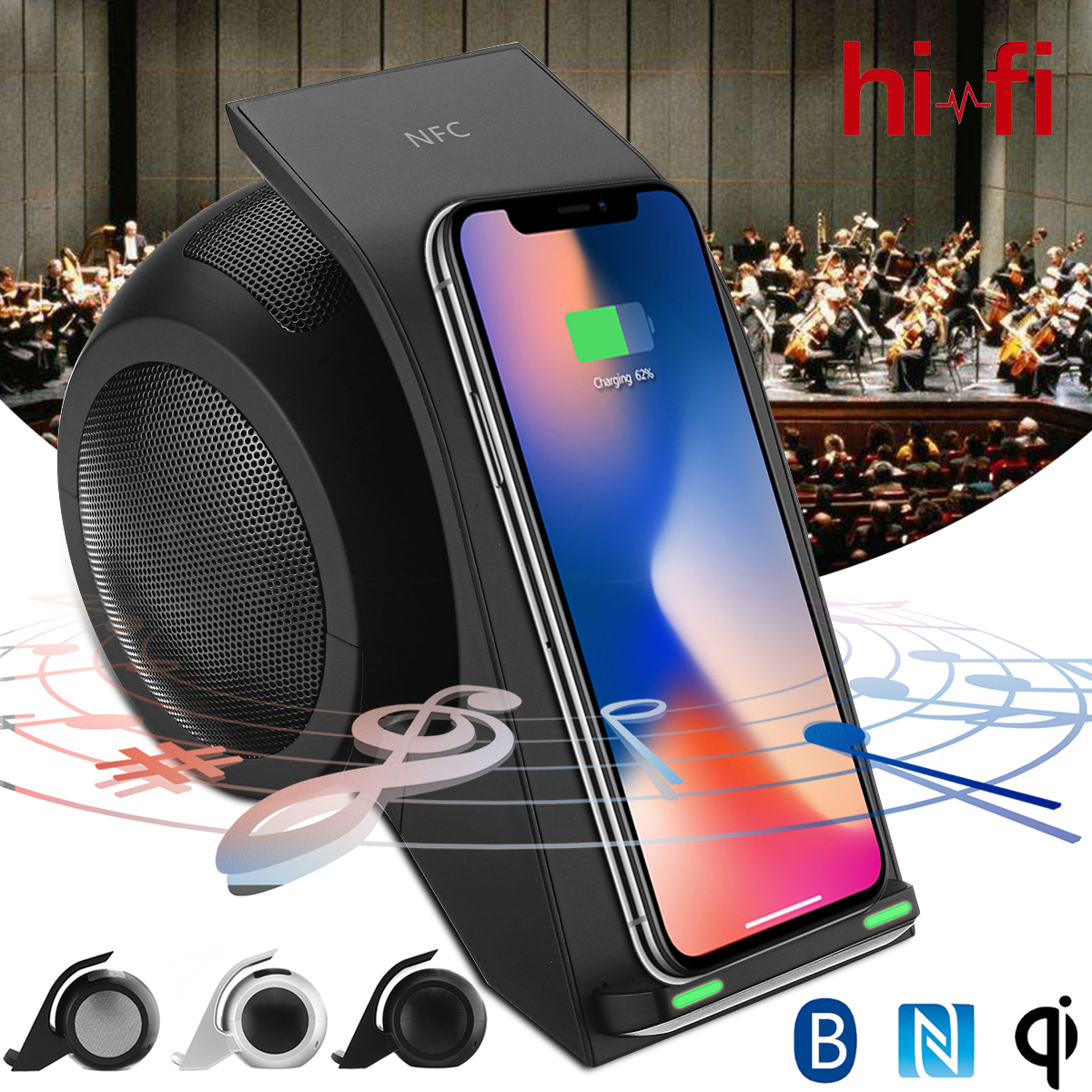 купить 3 in 1 Qi Wireless Fast Charger Pad Bluetooth Speaker NFC Hifi Music Player Charging for iphone XS MAX XR X 8 8P for Samsung по цене 3020.45 рублей