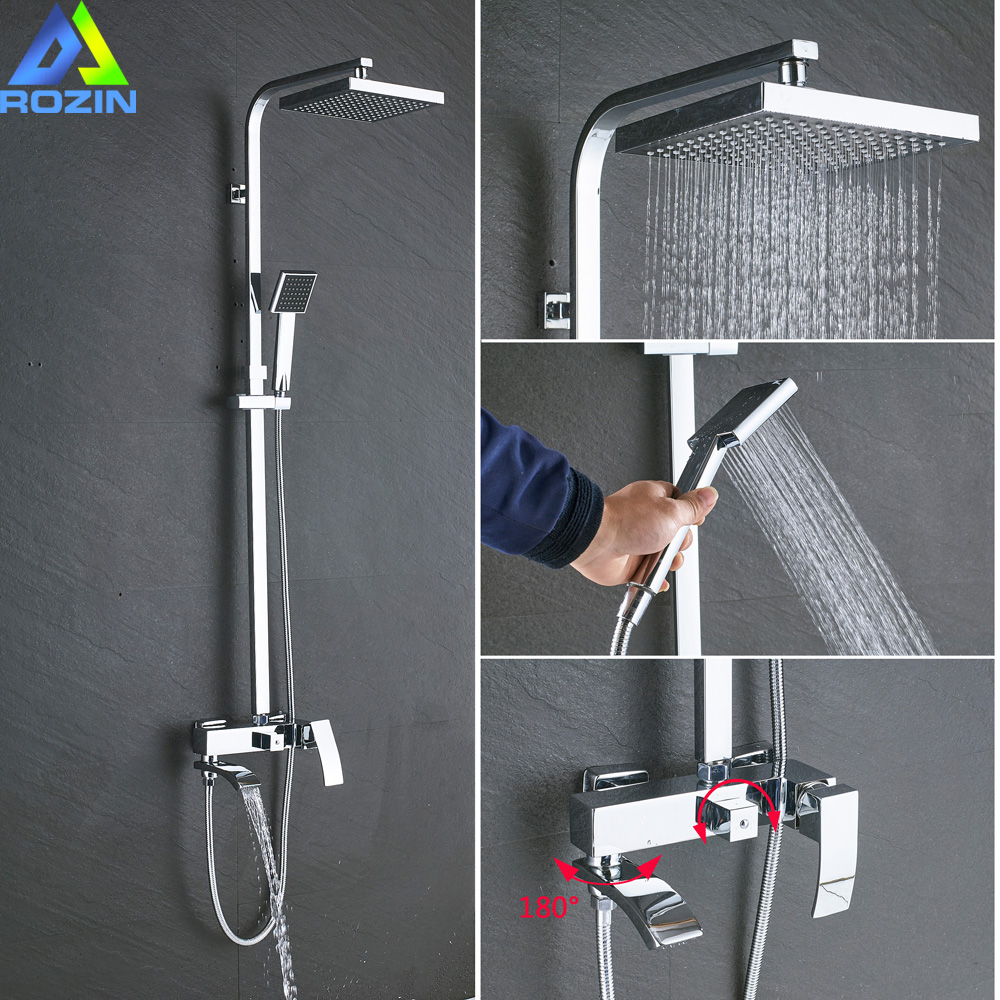 Chrome Bath Shower Faucet Wall Mounted Waterfall Shower Head with Swive Tub Filter Handshower Shower Mixers Hot and Cold Tap gappo classic chrome bathroom shower faucet bath faucet mixer tap with hand shower head set wall mounted g3260