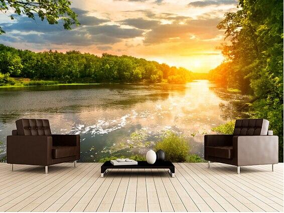 US $14.95 50% OFF|Benutzerdefinierte Tapete Landschaft, Fluss  Sonnenuntergang, 3D Foto Tapeten Wandbilder für Wohnzimmer Schlafzimmer TV  Wand ...