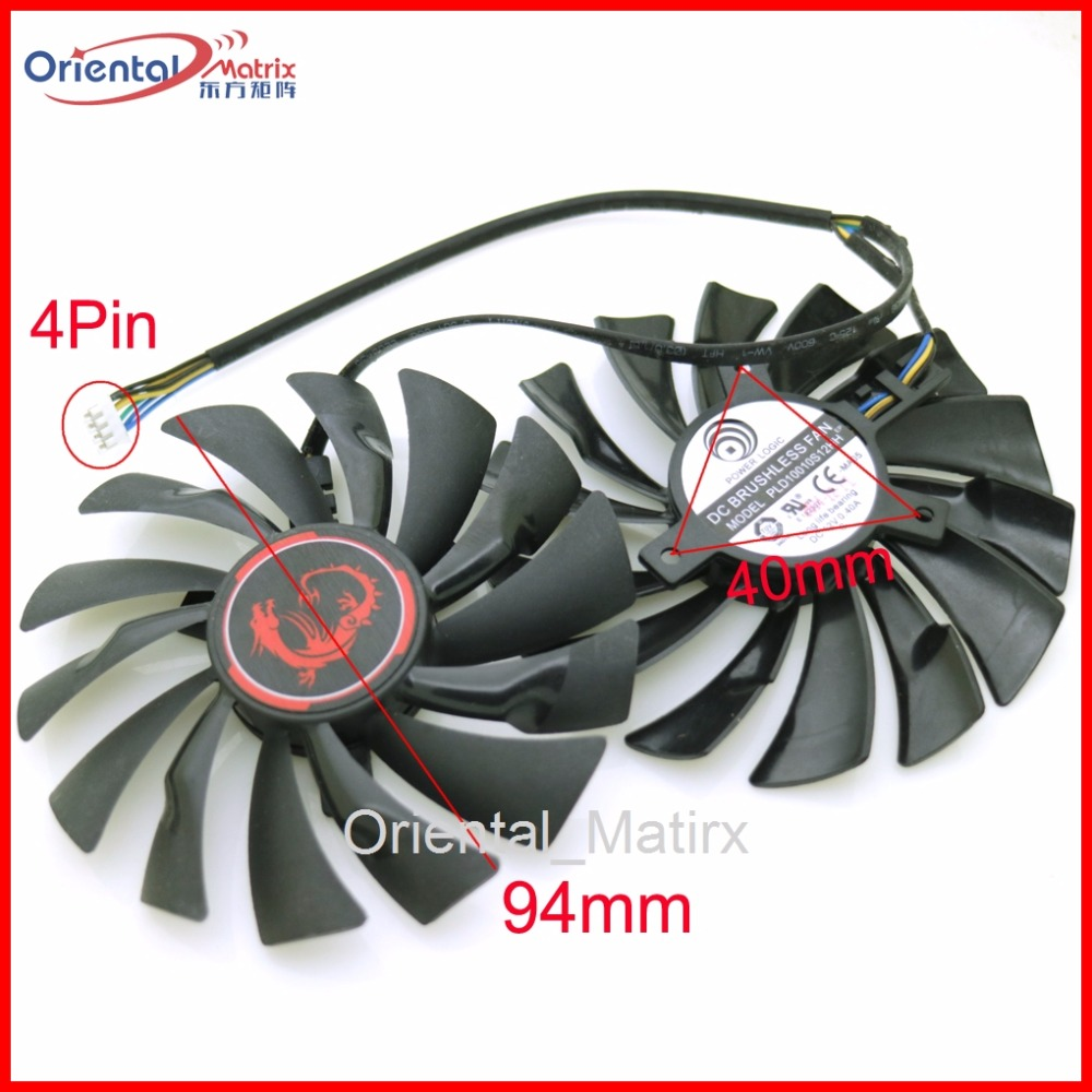 Free Shipping 2pcs/lot PLD10010S12HH 12V 0.40A 94mm VGA Fan For MSI GTX960 GTX950 R9 380X 390X GAMING Cooler Cooling Fan ...