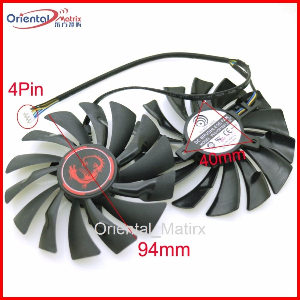 Frete Grátis 2 pçs/lote PLD10010S12HH 12V 0.40A 95mm VGA Ventilador Para MSI GTX960 GTX950 R9 380X 390X GAMING cooler Ventilador de Refrigeração