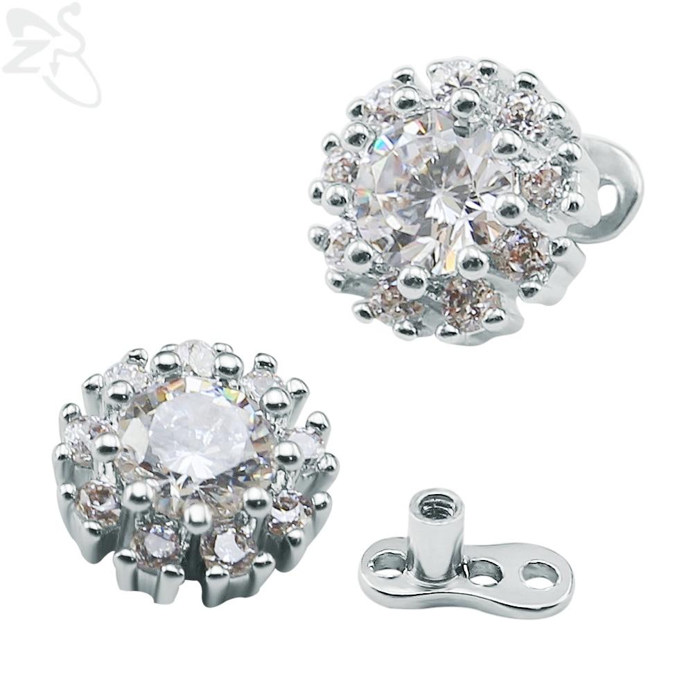 Fashion Crystal Flower Dermal Anchor Titanium Surgical Steel Internally Threaded Top Micro Dermal Divers Hide It Body Jewelry