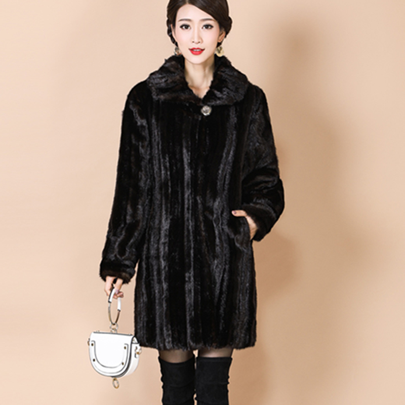 Kadın Giyim'ten Yapay Kürk'de Sıcak Vizon Kürk Ceket Artı Boyutu M 5XL Gevşek Kadın Yüksek end Kürk Ceketler Parka Kadın Kış Lüks Ceket Uzun kalın Kürk Palto A66'da  Grup 3