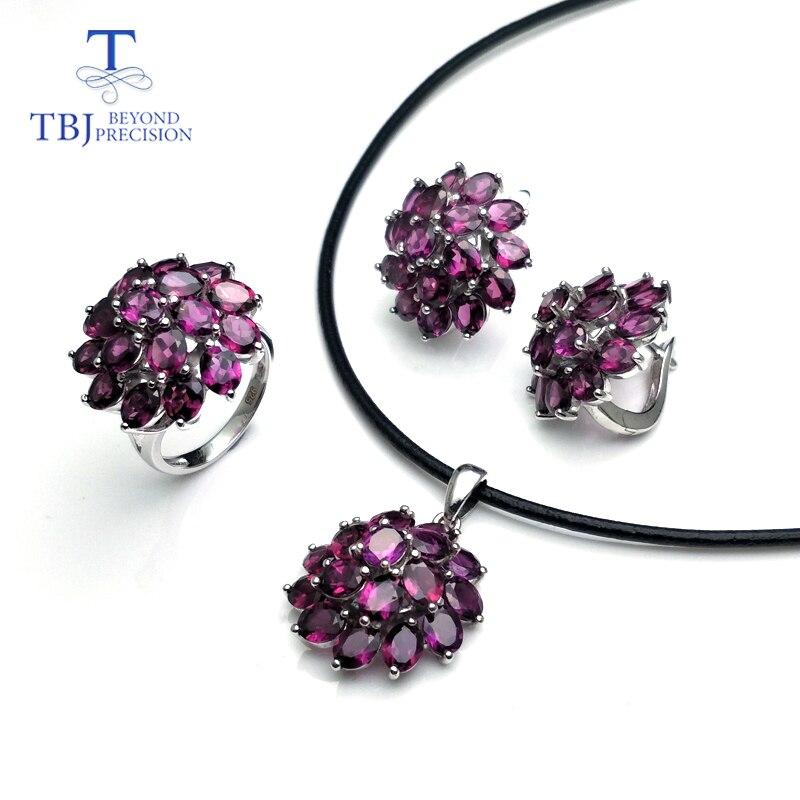 TBJ natural rhodolite garnet gemstone necklace earring ring 925 sterling silver jewelry elegant design for women