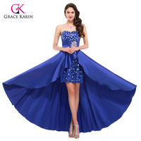 Evening Dress 2015 Elegant Women Strapless Royal Blue Sequin Paillette High Low Prom Dress Party Short