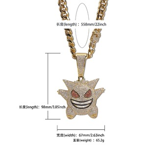 Image 5 - TOPGRILLZ Super Big Gengar Iced Out Pendant Necklace Mens With 12mm Cuban Chain Hip Hop Gold Silver Plated Charms Chain Jewelry