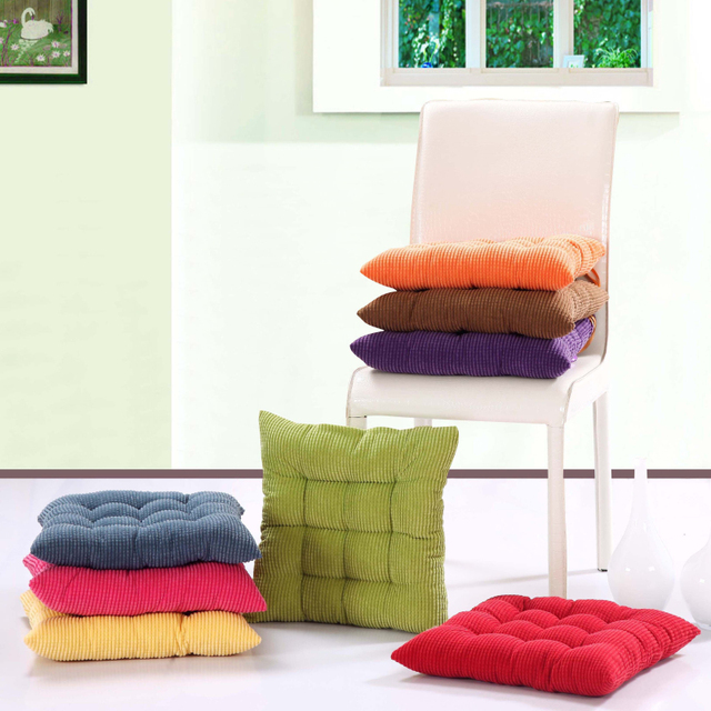 Superb 40X40CM Corduroy Chair Cushions For Kitchen Chair Solid Color Seat Cushion  Square Floor Cushion Machine Washable