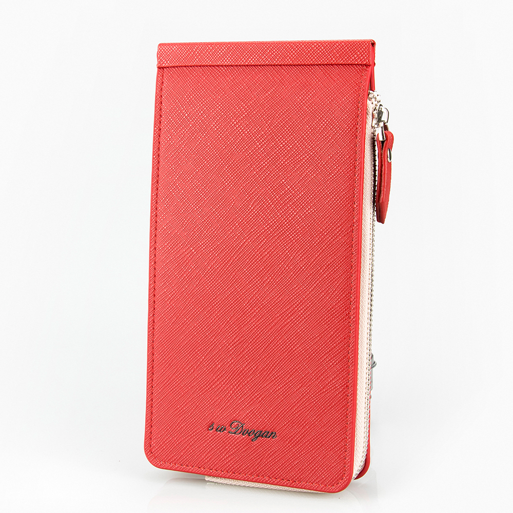 High Quality Female Card Wallet Three Folds Card Holder Zipper Purse for Phone Cash Litchi Pattern Leather Card Case Card Bag