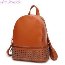 Six senses женщины рюкзак старинные случайный плечо мешок пу кожа мешок школы путешествия рюкзак заклепки рюкзак Mochila сцепления XD4046