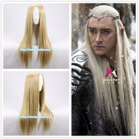 Movie Hobbit Thranduil cosplay wig king of elf gold long straight wig Lee Pace hair costumes