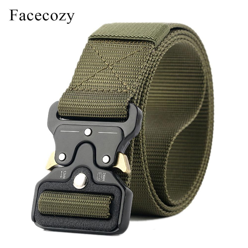 Facecozy Men Nylon Waistband Fast-Opening Automatic Tactical Belt Male Outdoors Hiking Military Canvas Belts Waist Support