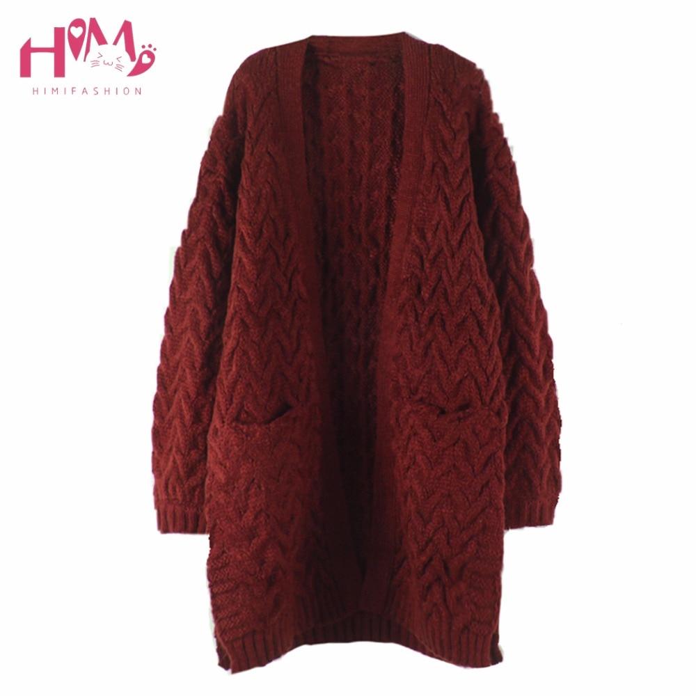 Autumn Winter Intensification Open Stitch Weight Yarn Korean Style Loose Lantern Sleeve Long Below Knees Knitting Dress Sweater