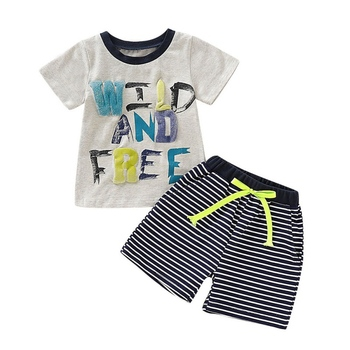 O-Neck 1-4T Letter Print Striped Summer Baby Boys Short Sleeve Letter Print Tops Blouse Shirt+Striped Shorts Casual Outfits Sets фото