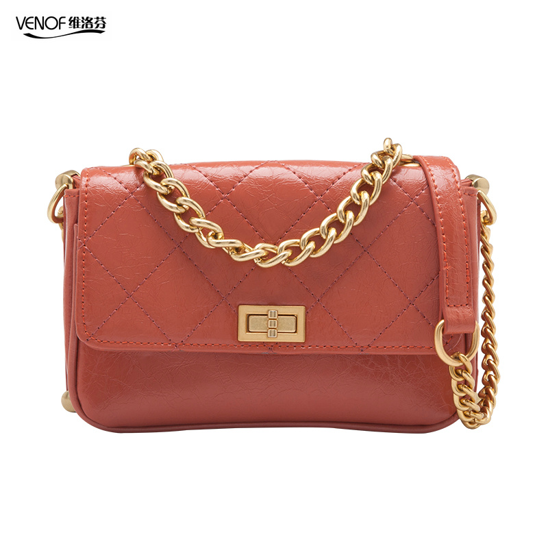 VENOF fashion ladies chain flap hand bags retro real leather shoulder bag for women luxury exquisite