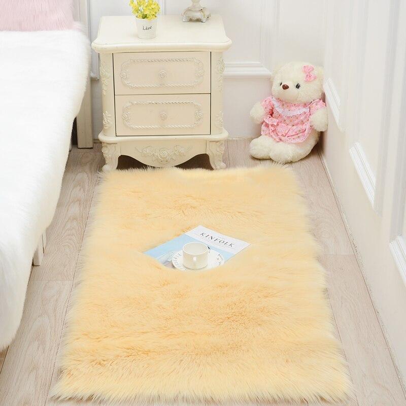 Imitation laine salon mode fourrure tapis en peluche chambre chevet tapis table basse tapis baie fenêtre coussin fenêtre DT-50 - 6