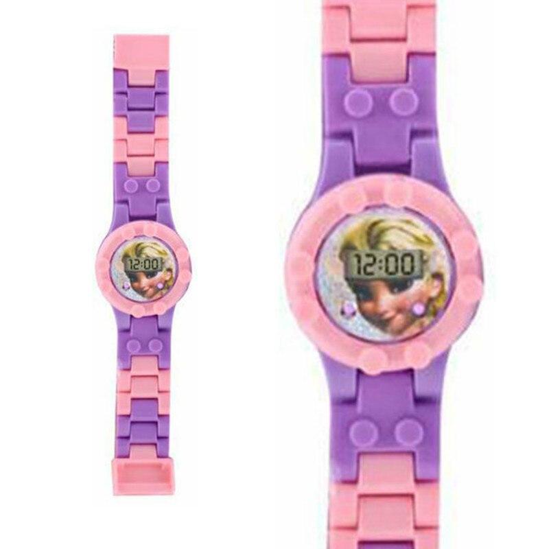 Princess Building Blocks Kids Watch Boys Girl  Toys For Children Watch Spiderman Ironman Batman