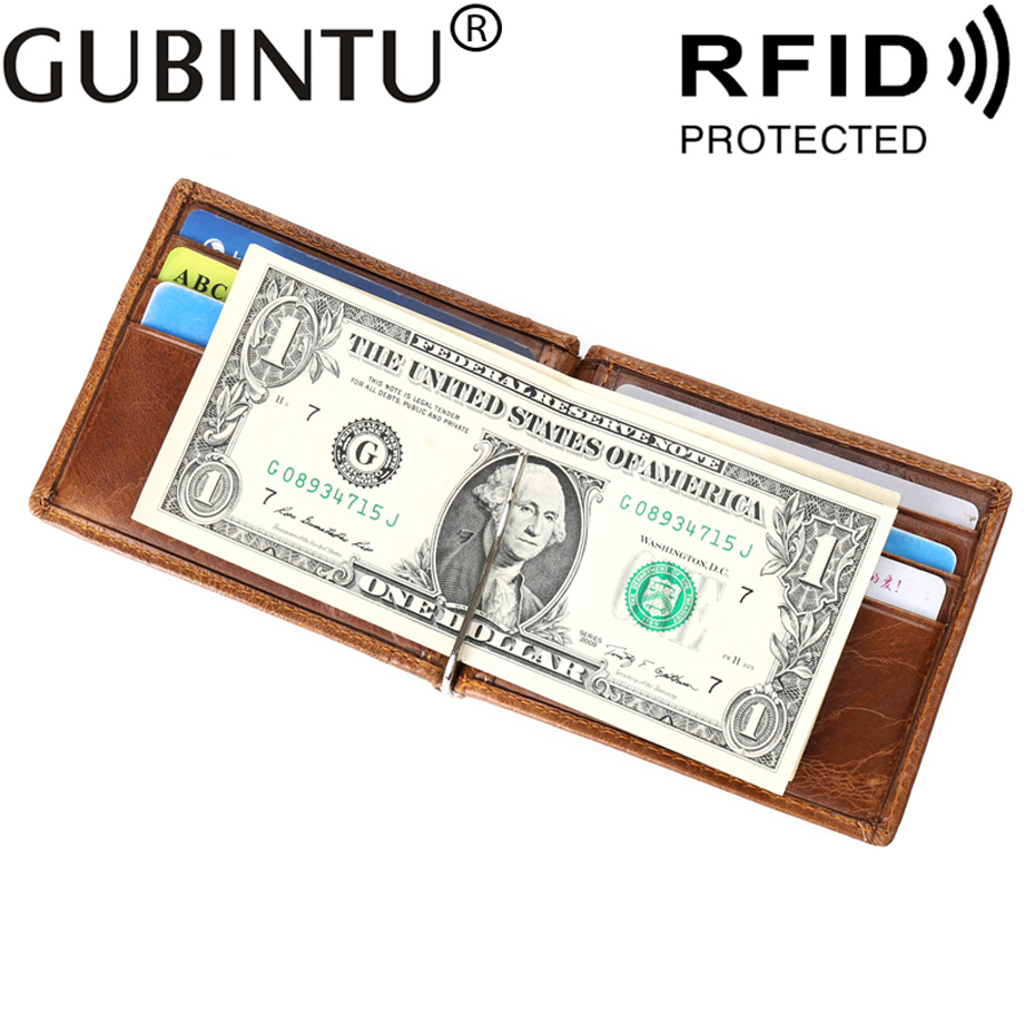 Genuine Leather Men Wallet RFID Purse With Cash Holder Clamp For Bills Card Holder And I Money Clip Male Metal Pocket Kashelek slim cash genuine leather women men holder clamp for money clip metal i male female wallet purse with card bill kashelek cateira