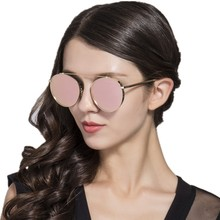 HD.space Brand Round Rimless Sunglasses Women Vintage Sun Glasses Women Female Brand Design Mirrored Lens UV400 Glasses lunette